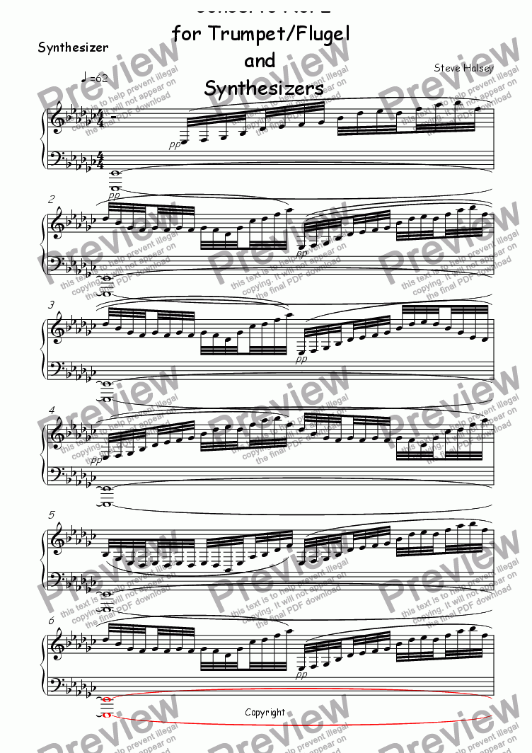 page one of the Synthesizer part from Trumpet Concerto No. 2 'Terminator'