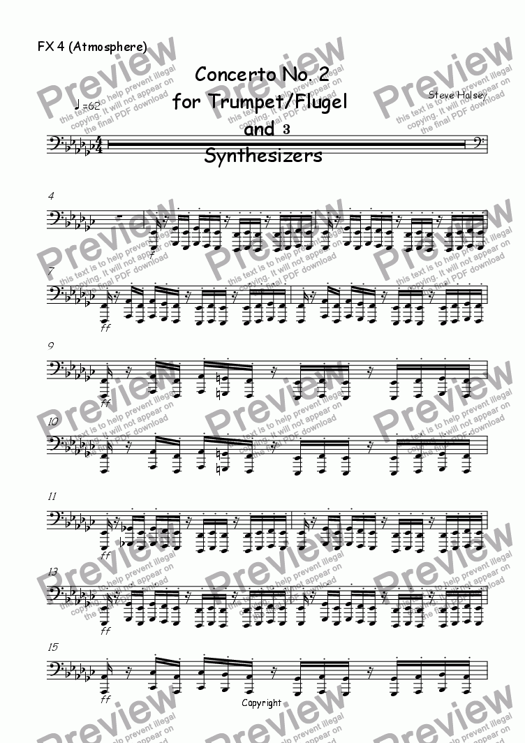page one of the FX 4 (Atmosphere) part from Trumpet Concerto No. 2 'Terminator'