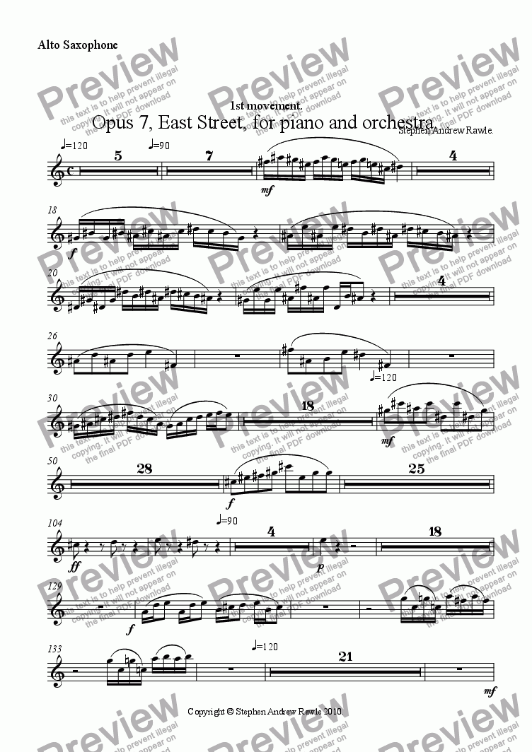 page one of the Alto Saxophone part from Opus 7/1, East Street, for piano and orchestra.