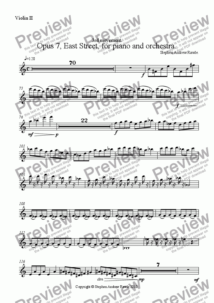 page one of the Violin II part from Opus 7/3, East Street, for piano and orchestra.