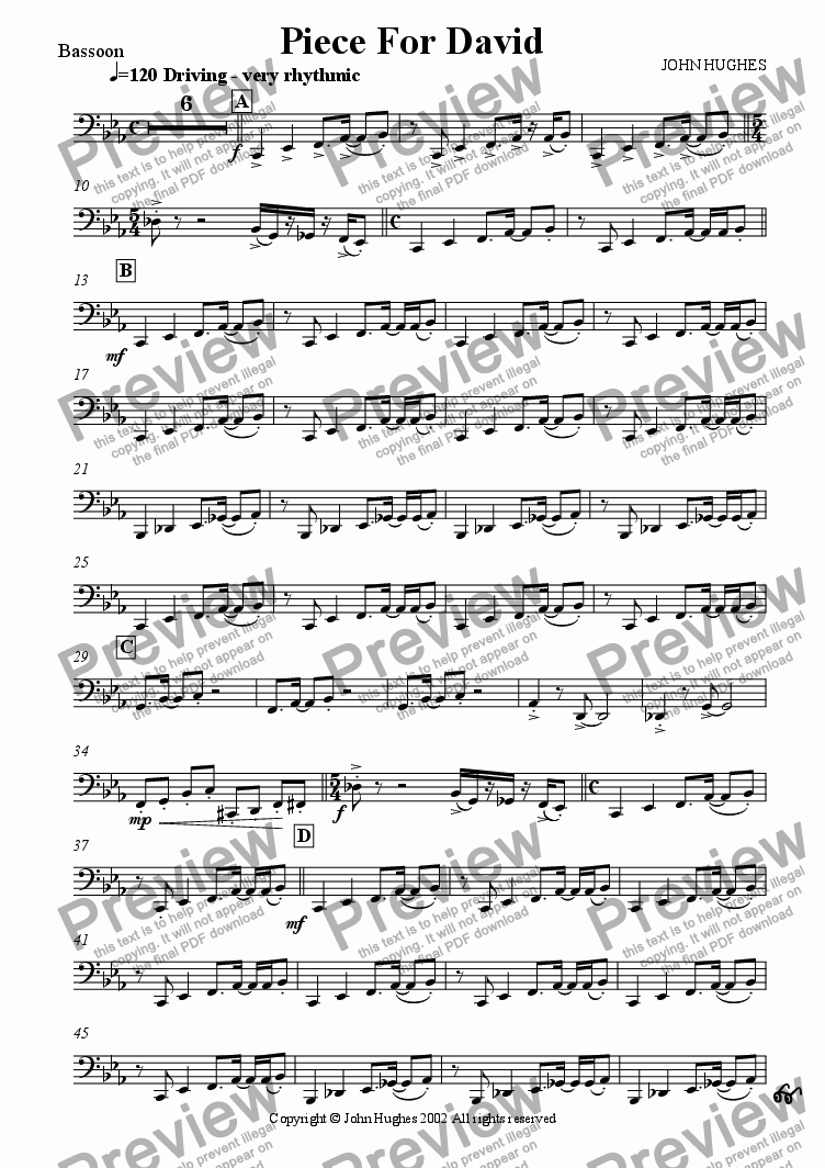 page one of the Bassoon part from Piece For David