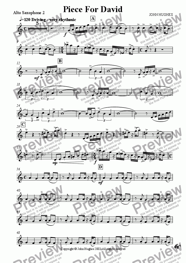 page one of the Alto Saxophone 2 part from Piece For David