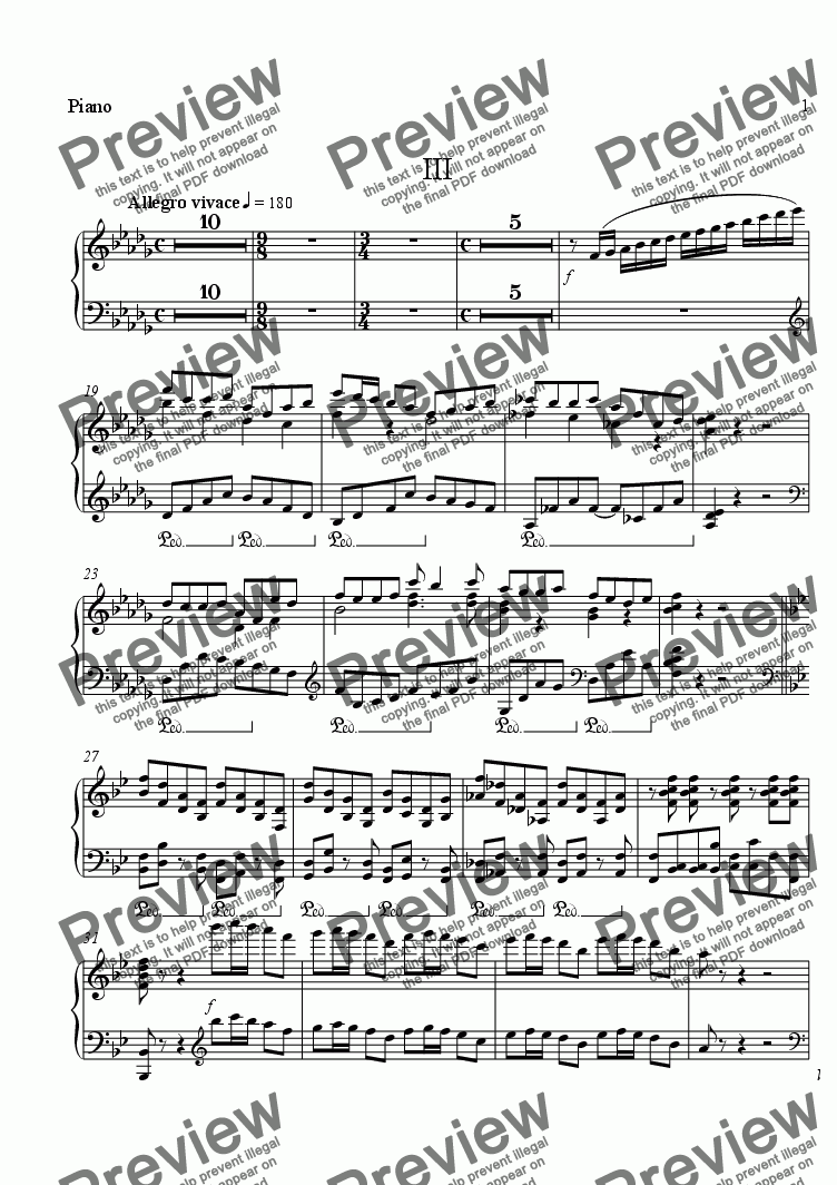 page one of the Piano part from Orono Concerto for Piano and Orchestra, III