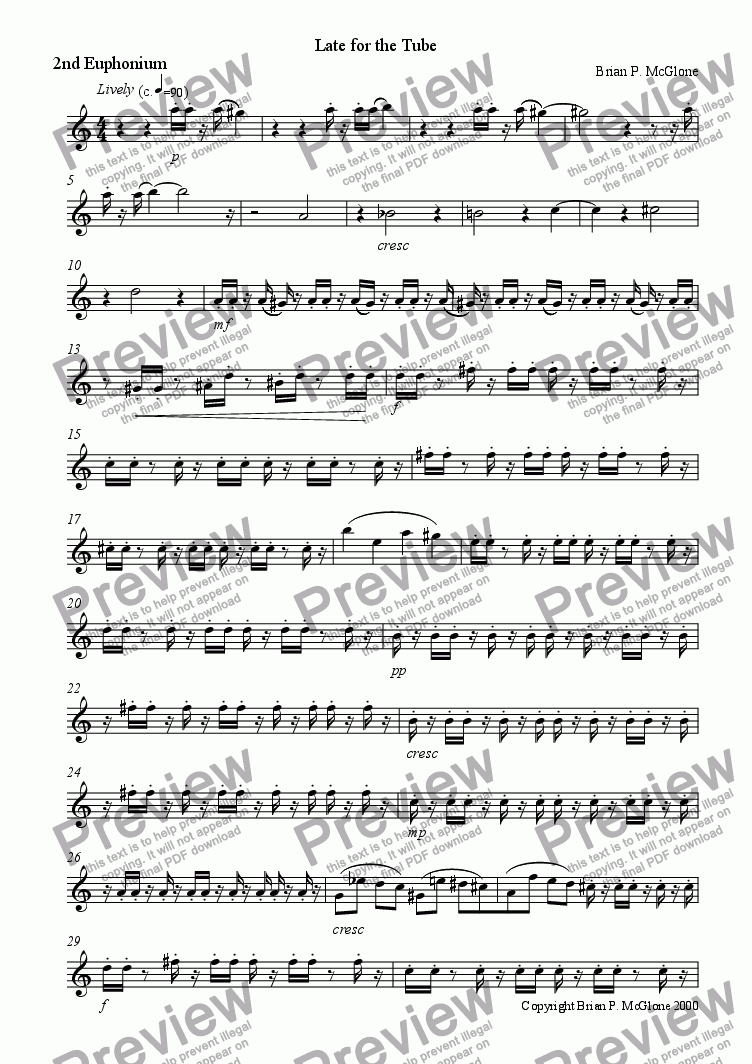page one of the Euphonium 2 part from Late for the Tube
