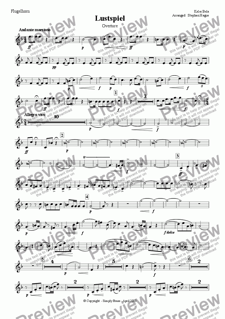 page one of the Flugelhorn part from Overture - Lustspiel