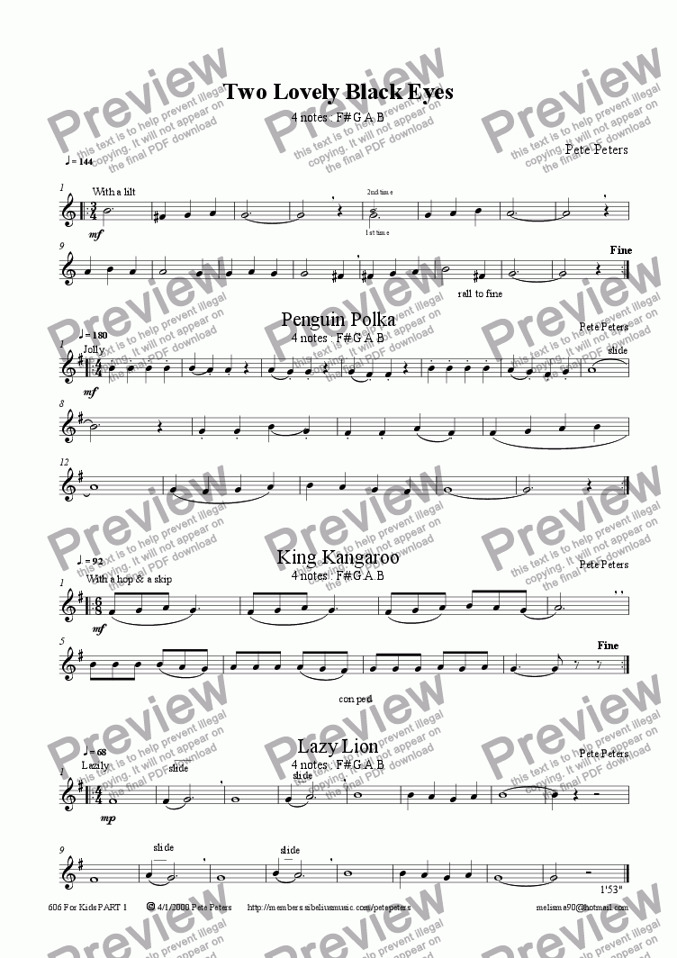page one of the Flute or Recorder part from For Kids Part 1: 4 pieces [12 & under] [Descant + Piano]