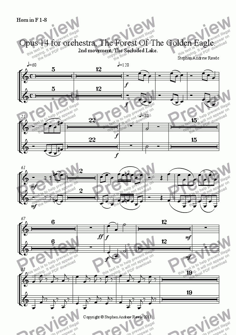 page one of the Horn in F 1-8 part from Opus 14/2, The Forest Of The Golden Eagle.