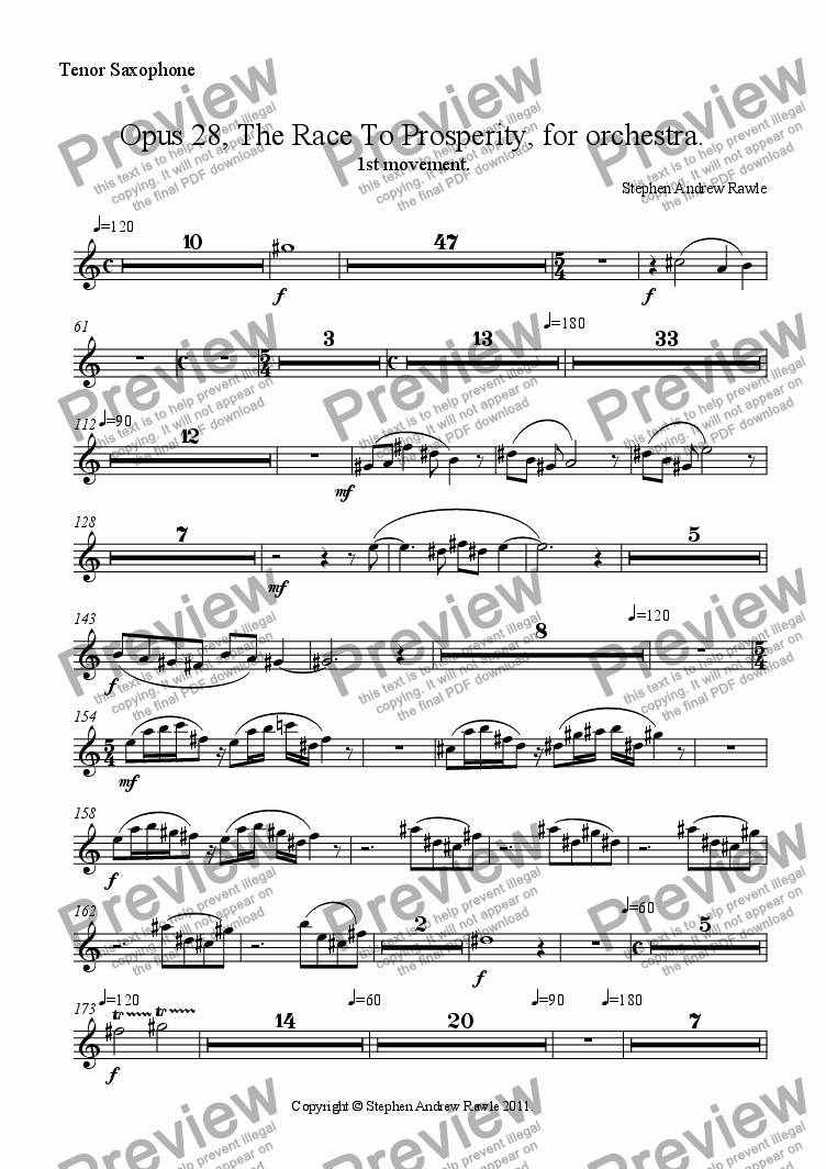page one of the Tenor Saxophone part from Opus 28/1, The Race To Prosperity.