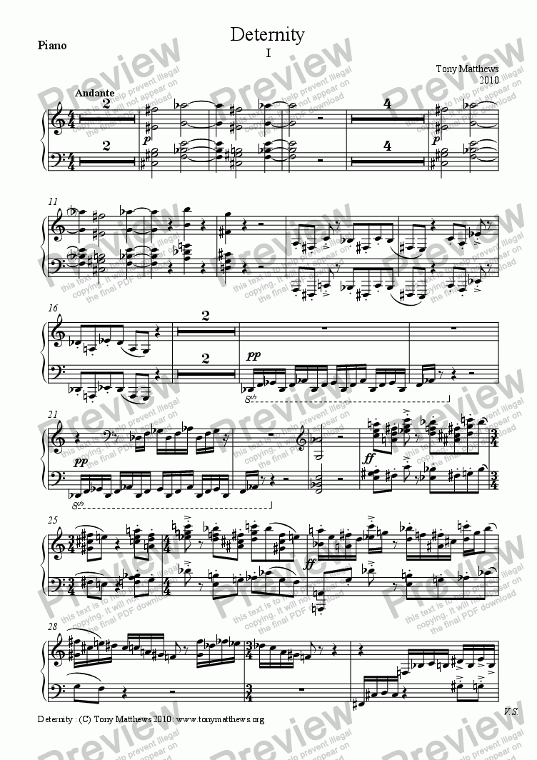 page one of the Piano part from Deternity