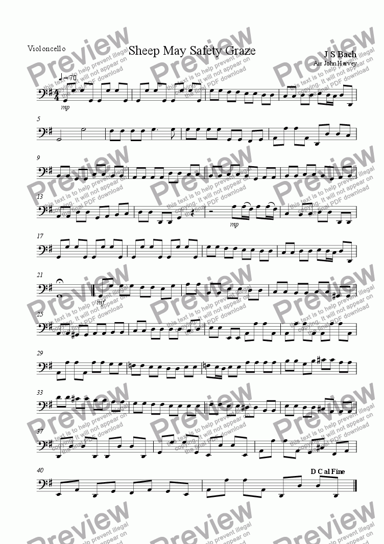 page one of the Cello part from Sheep may safety graze