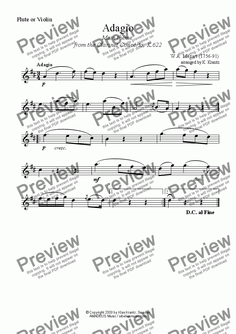page one of the Flute or Violin part from Adagio for violin or flute and easy piano