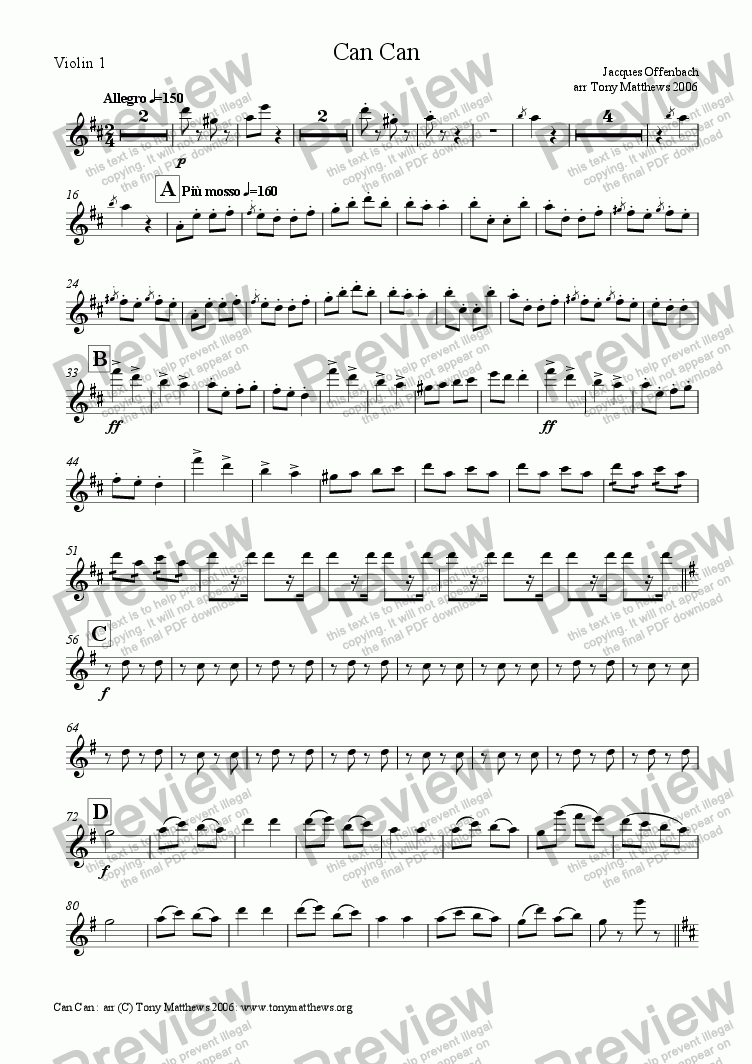 page one of the Violin 1 part from Can-Can