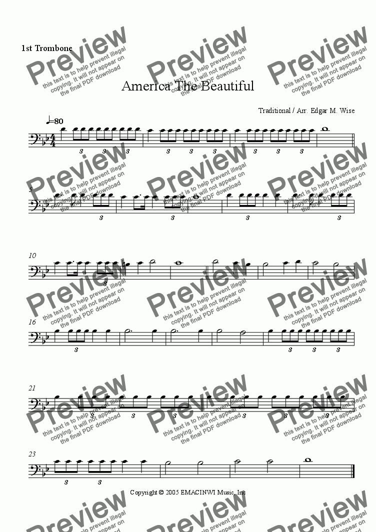 page one of the 1st Trombone part from America The Beautiful