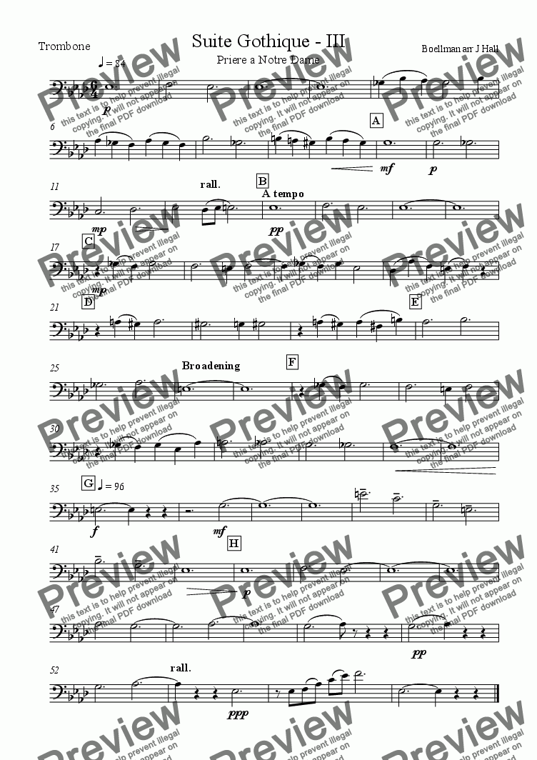 page one of the Trombone part from Suite Gothique - Priere a Notre Dame