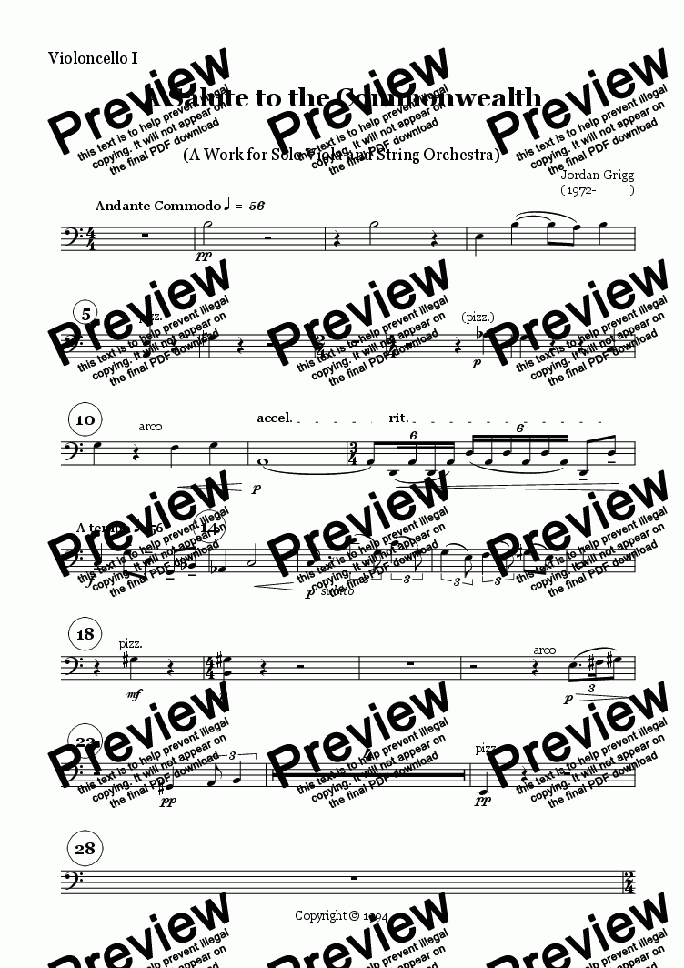 page one of the Violoncello I part from A Salute to the Commonwealth