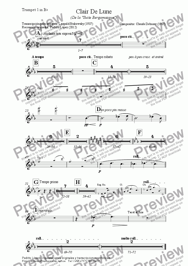 page one of the Trumpet 1 in B^b part from Clair De Lune