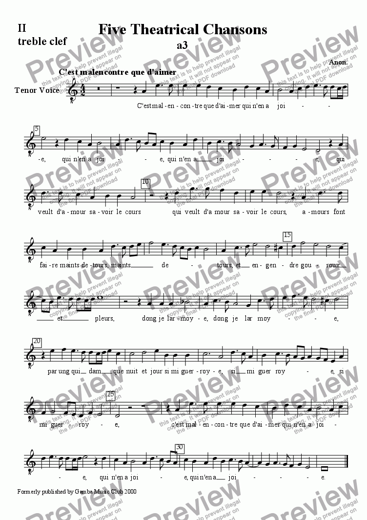 page one of the Second line tenor clef for tenor voice part from Five Theatrical Chansons