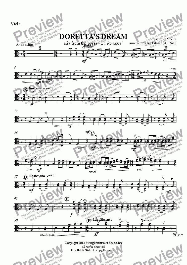 page one of the Viola part from DORETTA'S DREAM