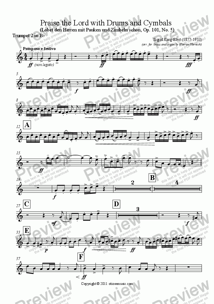 page one of the Trumpet 2 in B^b part from Praise the Lord with Drums and Cymbals (Lobet den Herren mit Pauken und Zimbeln schon, Op. 101, No. 5)