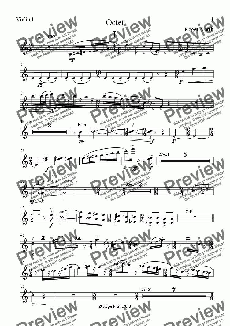 page one of the Violin 1 part from Octet for Clarinet, Horn, Bassoon, 2 Violins, Viola, Violoncello and Double Bass