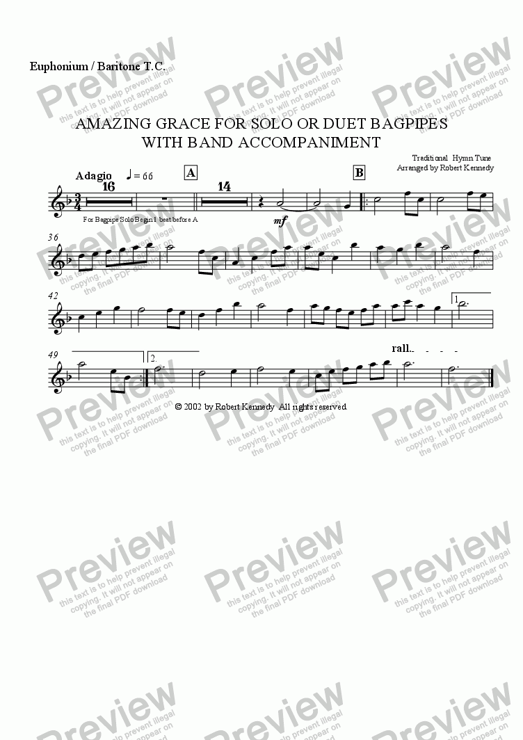 page one of the Euphonium T.C. part from Amazing Grace For Solo Or Duet Bagpipes With Band Accompaniment