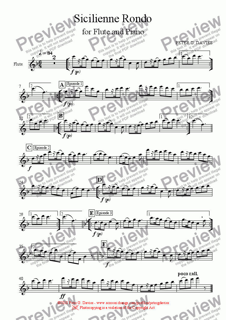 page one of the Flute part from Sicilienne Rondo for Flute and Piano