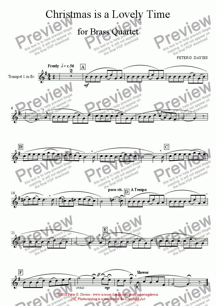 page one of the Trumpet 1 in B^b part from Christmas is a Lovely Time for Brass Quartet