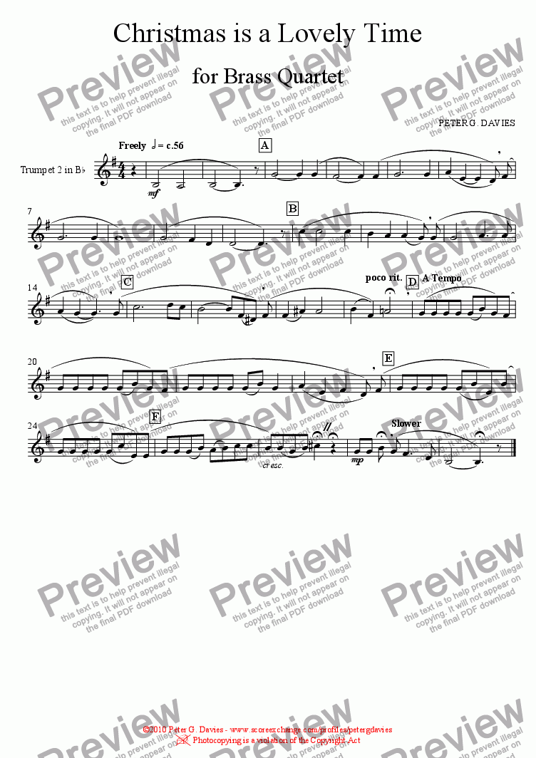 page one of the Trumpet 2 in B^b part from Christmas is a Lovely Time for Brass Quartet