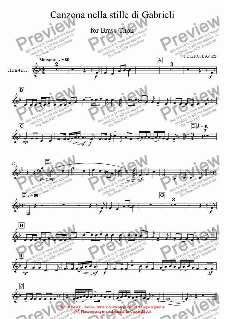page one of the Horn 4 in F part from Canzona nella stille di Gabrieli