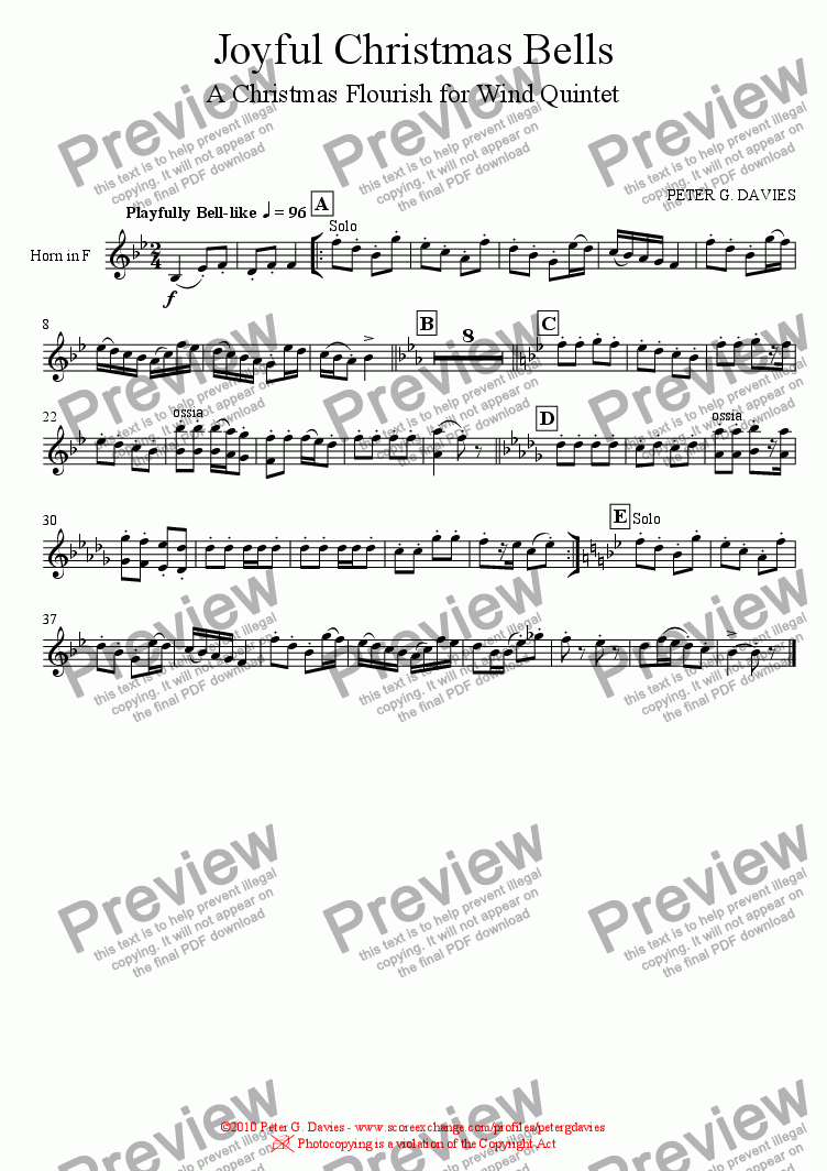 page one of the Horn in F part from Joyful Christmas Bells for Wind Quintet