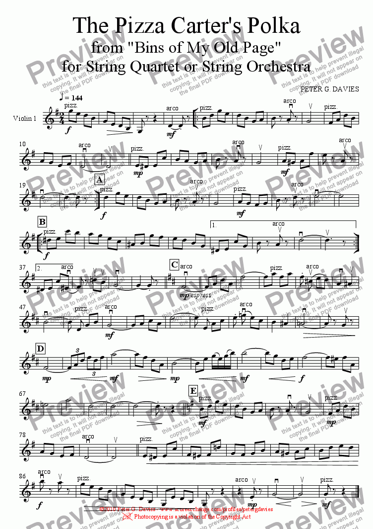 page one of the Violin 1 part from The Pizza Carter's Polka for String Orchestra/Quartet