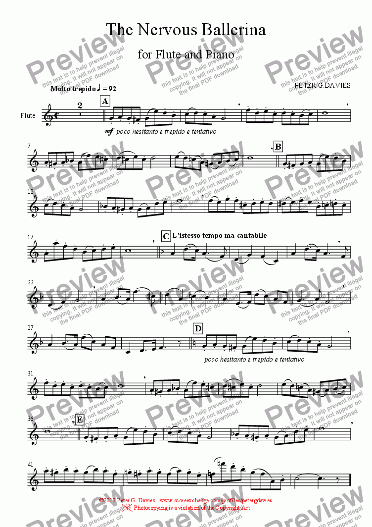 page one of the Flute part from The Nervous Ballerina for Flute and Piano