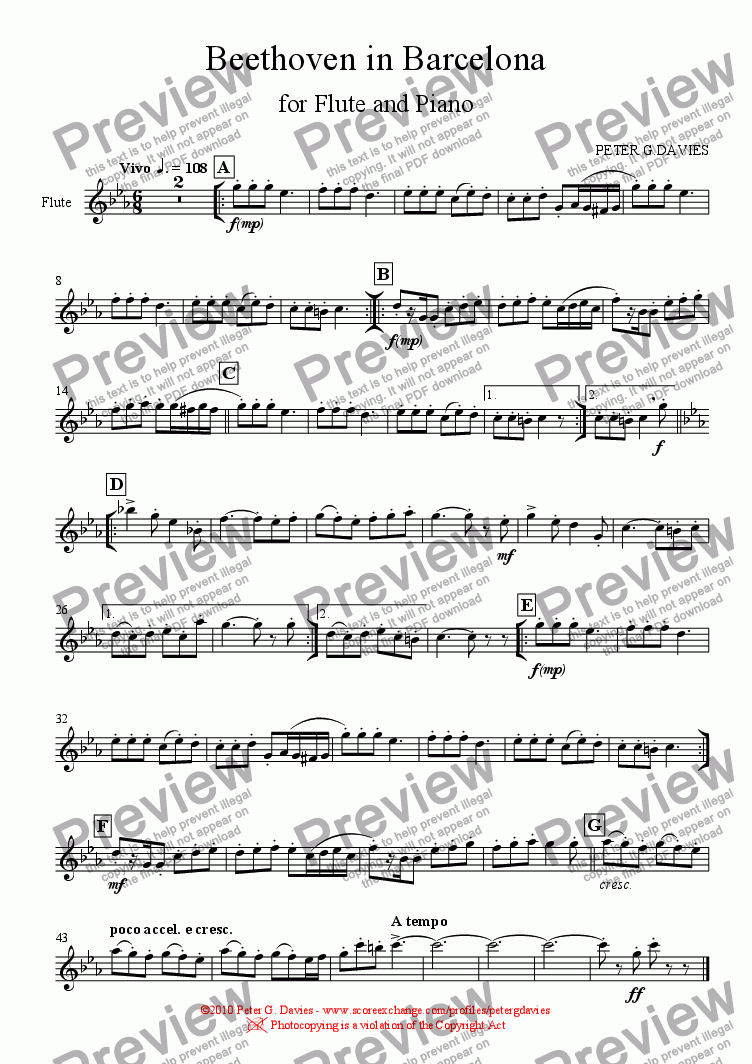page one of the Flute part from Beethoven in Barcelona for Flute and Piano