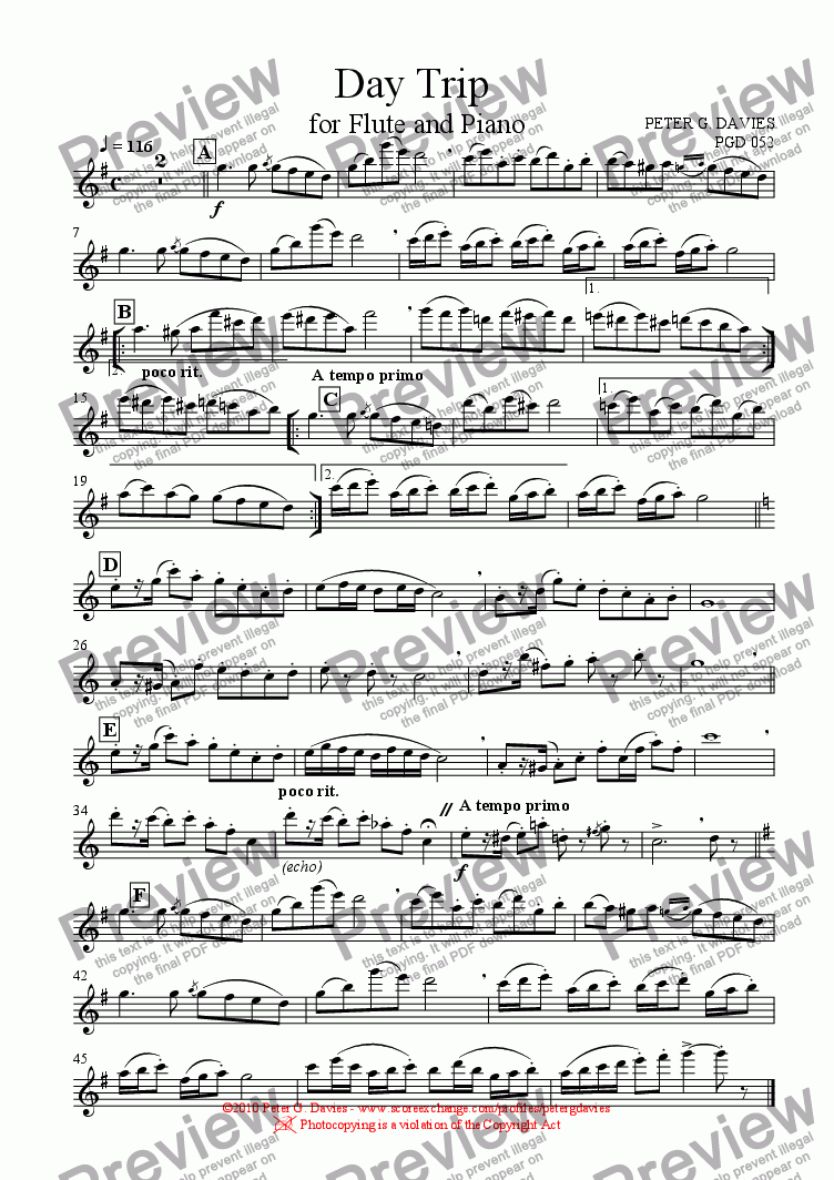 page one of the Flute part from Day Trip for Flute and Piano
