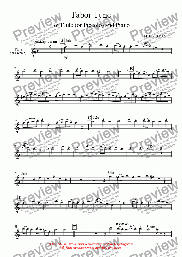 page one of the Flute (or Piccolo) part from Tabor Tune for Flute and Piano