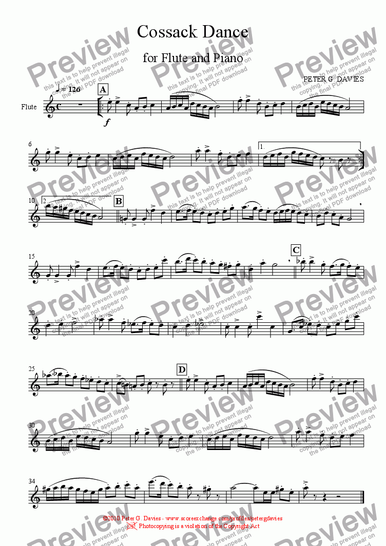 page one of the Flute part from Cossack Dance for Flute and Piano
