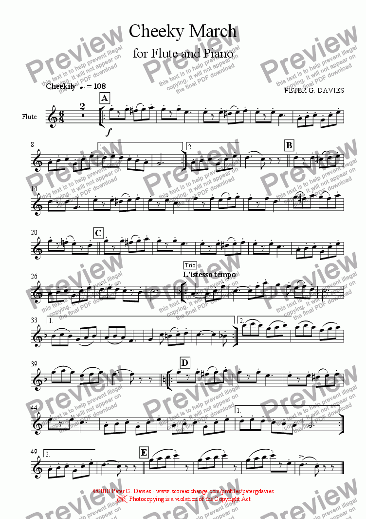 page one of the Flute part from Cheeky March for Flute and Piano