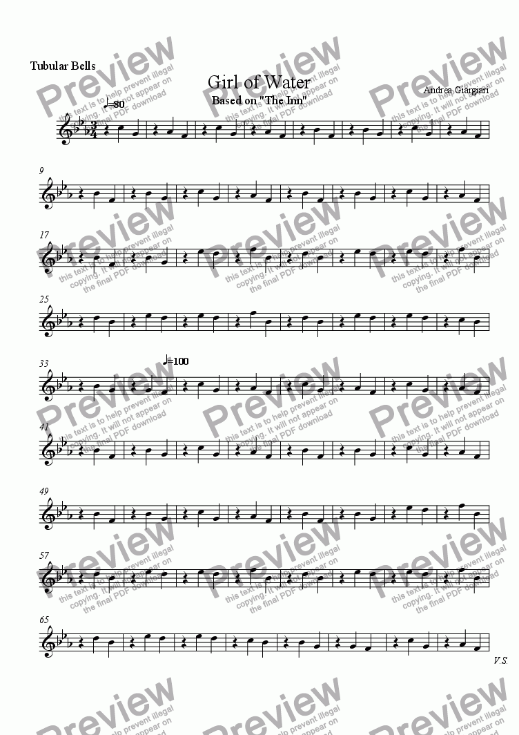 page one of the Tubular Bells part from Girl of Water