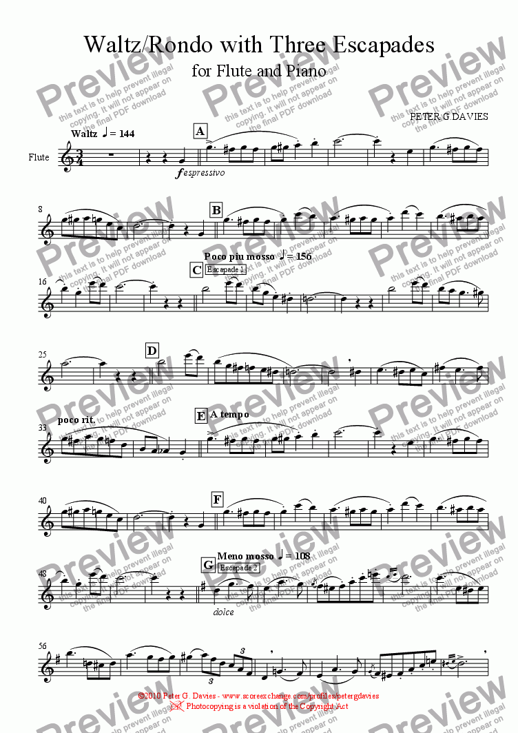 page one of the Flute part from Waltz/Rondo with Three Escapades for Flute and Piano