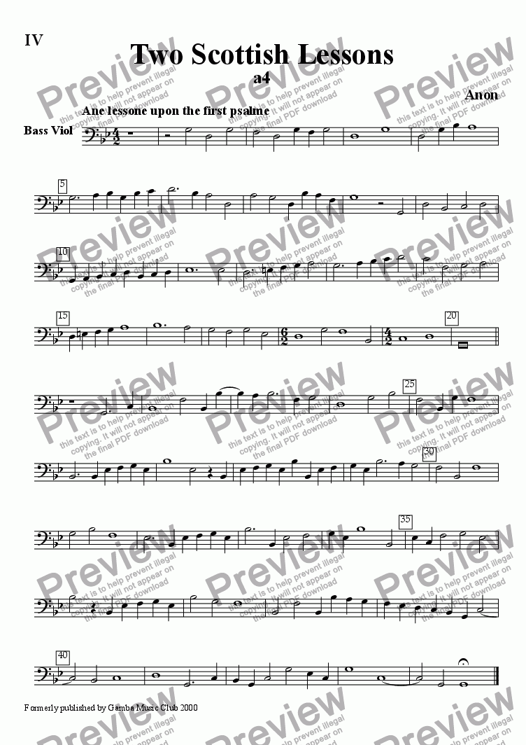 page one of the Bass Viol part from Two Scottish Lessons on Psalms 1 and 2