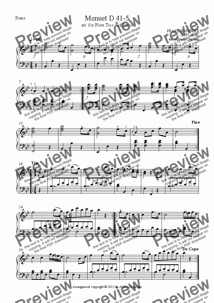 page one of the Piano part from Menuet D 41-5 - arr. for Flute Trio and Piano