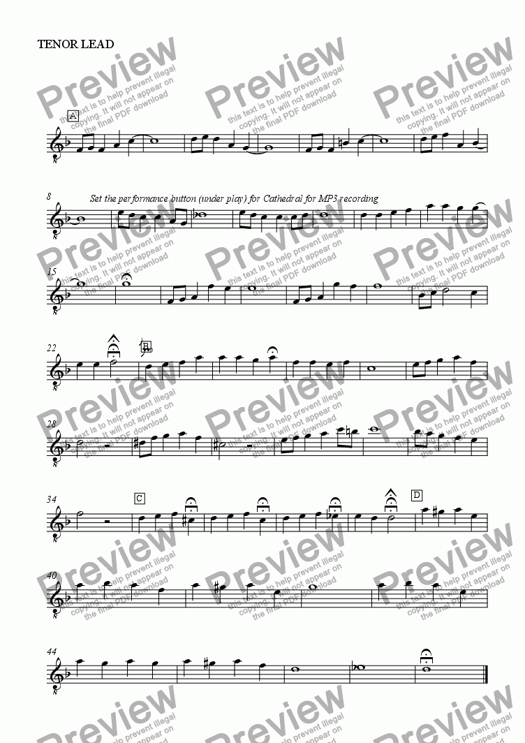 page one of the TENOR LEAD part from Greggor, Ryan