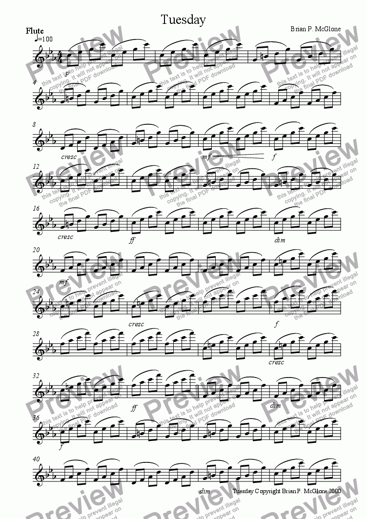 page one of the flute part from Tuesday