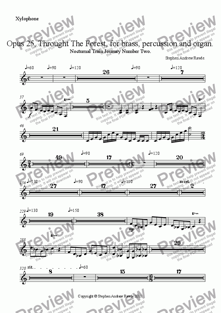 page one of the Xylophone part from Opus 25, Through The Forest.