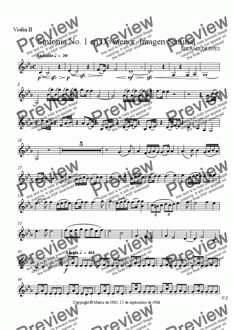 page one of the Violin II part from Sinfonía No. 1 en Do menor, Imagen Seminal