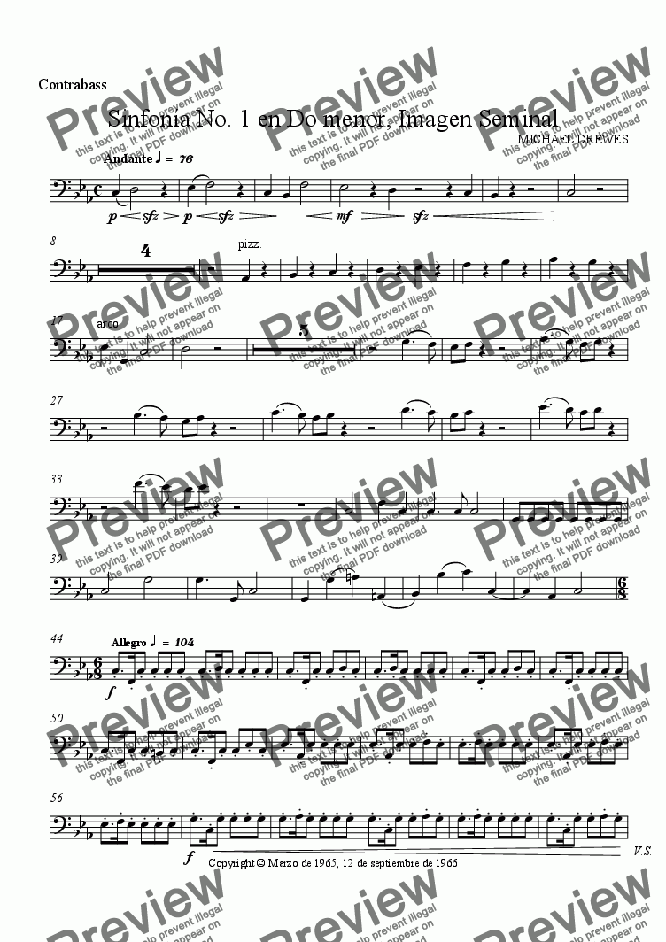 page one of the Contrabass part from Sinfonía No. 1 en Do menor, Imagen Seminal