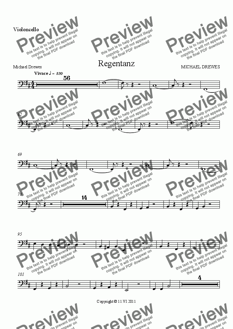 page one of the Violoncello part from Regentanz - Rain Dance