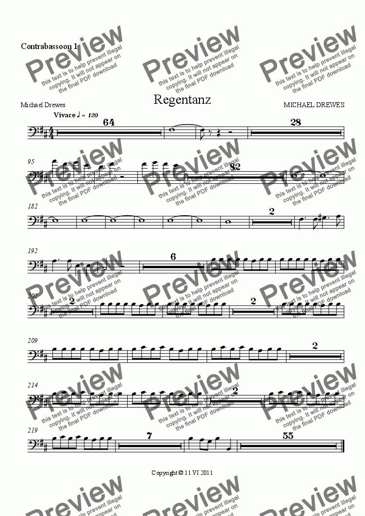 page one of the Contrabassoon 1 part from Regentanz - Rain Dance