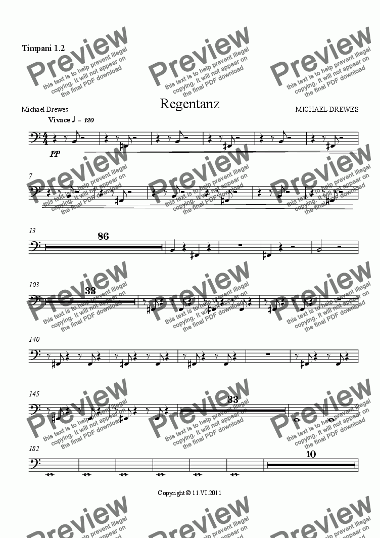 page one of the Timpani 1.2 part from Regentanz - Rain Dance