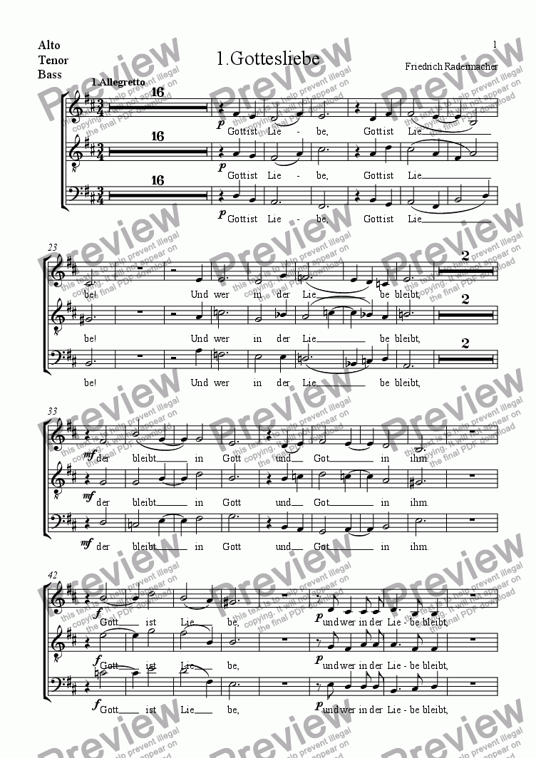 page one of the Alto, Tenor, Bass part from 1.Gottesliebe